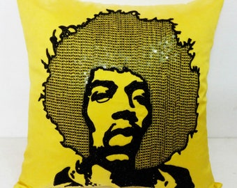 Shop for Electrifying Jimi Hendrix Pillow in yellow silk-Throw pillow case
