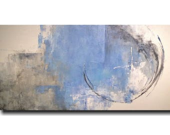 Original Large Abstract painting - 24 X 48 Inches-by Artist JMJartstudio-Exposed-Wall art-wall decor -Blue painting-Oil painting