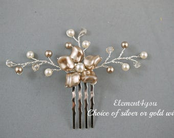 Flower hair comb, Bridesmaid accessories, Champagne ivory pearls, Gold wire, Wedding hair piece, Flower Girl, Small Hair fascinator, bronze