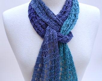 Cotton Scarf- Hand Knit-- Aquamarine/ Lavender/ Purple