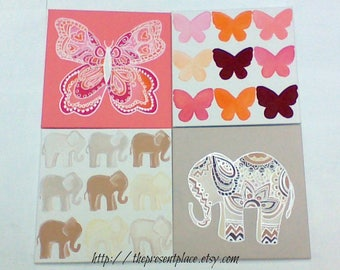 Four paintings,elephant paintings,butterfly paintings,coral,peach,taupe wall art,girls art,elephants, butterflies,girls wall art,room decor