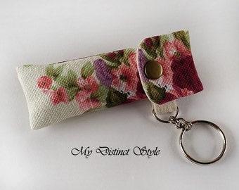 Canvas Fabric Lip Balm Holder with Keyring, Lip Balm Cozy, Chapstick Holder
