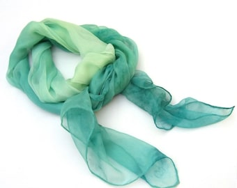 Greenery hand paint scarf silk long ombre green dyed fashion luxury feminine gift for women rain forest Jungle green, custom order