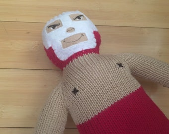 Luchador Wrestlers Toy Knotted Figure Doll Red