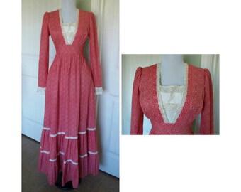 Vintage 70s Gunne Sax Peasant, hippie, boho,maxi dress - vintage dress - true vintage