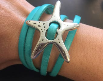 Leather Wrap Bracelet - Teal Leather Wrap Bracelet - Silver Starfish Leather Wrap Bracelet - Magnetic Clasp Leather Wrap Bracelet