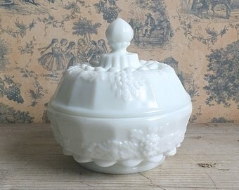 Milk Glass Candy Dish Trinket Box Round Covered Dish