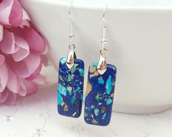 Royal Blue and Turquoise Jasper Earrings, Blue Jasper Bar Earrings, Geometric Earrings, Sterling Silver, Plated or Surgical Ear Wires