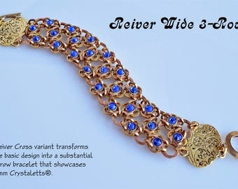 Kit Reiver Cross 3-Row Chainmaille Bracelet with Crystaletts