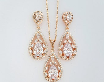 Rose Gold Bridal Set, Wedding Earrings and Necklace Set, Cubic Zirconia, Pink Gold, Large Teardrops Bridal Jewelry Crystal, Essy