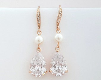Wedding Dangle Earrings Rose Gold Bridal Pearl Crystal Earrings Rose Gold Pearl Drop Earrings Swarovski Pearl , Clara Earrings