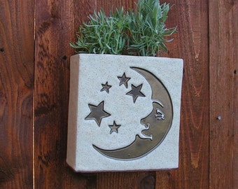 Large Hanging Stoneware Planter with Moon and Stars in Burnished Gold