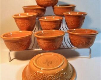 Oven Serve Pumpkin Orange Lot of 10 /  Custard Cups 2 / Ramekin 4 / Fruit Dessert 4