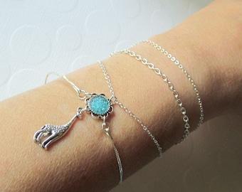 Giraffe Chain Wrap Bracelet, Silver Blue Armlet, Roman Bangle, African Animal Jewelry, Petite Delicate, Custom Color Gift
