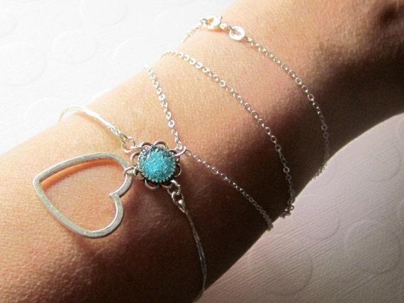Heart Wrap Bracelet Open Heart Armlet Heart Armchain Bangle Necklace Silver Wire Wrap Bracelet Custom Blue Bangle Bracelet for Valentine