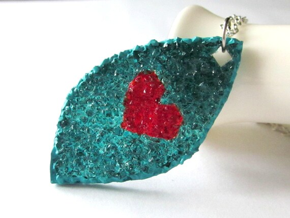 Leaf Heart Necklace, Stained Glass Leaf Pendant, Red Sea Blue, Sterling Silver, Custom Color Heart Jewelry, Glass Cut-out