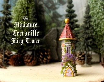 The Fairy Tower of Terraville - Enchanted Miniature Round Terrarium Tower with Flower Box, Moss and Golden Finial - N Scale Building