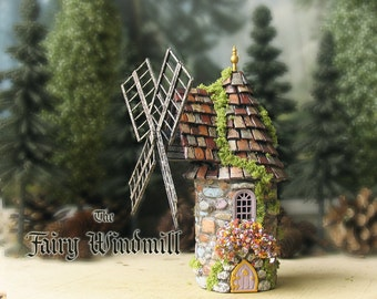 The Fairy Windmill - Miniature Handcrafted and Hand-Painted Round House with Tile Roof, Moss, Arched Door, Golden Finial Blooming Flower Box