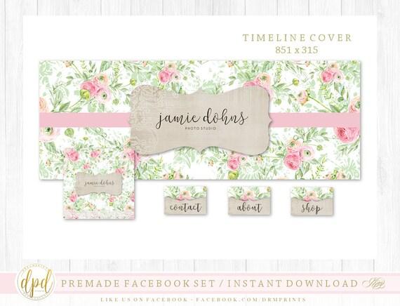 Premade DIY Facebook Set | Facebook Timeline | Facebook Package | Facebook Graphics | Business Branding | INSTANT DOWNLOAD-AA121