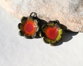2 handmade charms for earrings or necklace - high fired  ceramic clay pottery supply - luminous boho chic rustic flowers