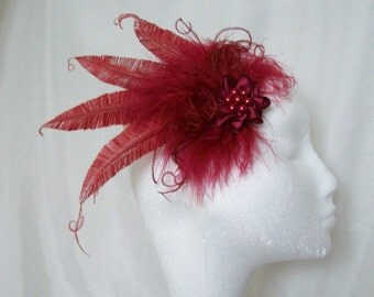 Burgundy Wine Fascinator - Marsala Claret Trimmed Ostrich Fluff Feather & Pearl Vintage Hair Clip  Headpiece Wedding - Made to Order
