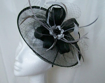 Black & Grey Fascinator Sinamay Saucer and Pewter Veiling Loop and Feather Hatinator Hat Derby Ascot- Made to Order