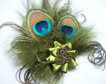 Olive Khaki Green Peacock Feather & Brass Watch Cogs Steampunk Mini Fascinator Hair Hat Clip - Made to Order