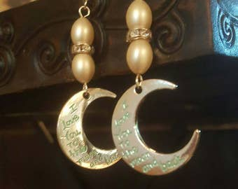 I love you to the Moon and Back Dangle Devotional Earrings Lunar Jewelry
