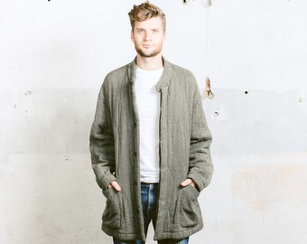 EMPORIO ARMANI Coat . Quilted Warm Salt and Pepper Black and White Winter Coat Long Oversized Jacket . size Extra Large XXL