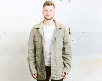 Vintage Men's Denim Jacket . Workers Shirt Workwear Jacket Coat Grey Beige Jacket 90s Grunge Jacket Overshirt . size XL