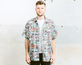 Mens Abstract Pattern Shirt . Vintage 90s Bold Summer Shirt Button Down Short Sleeve Hawaiian Shirt . size Extra Large
