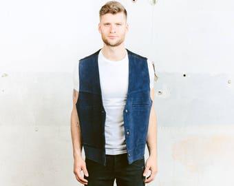 Blue Suede Vest . Indiana Jones Leather Vest Vintage 80s Mens Sleeveless Jacket Cowboy Western Biker Vest . size Large