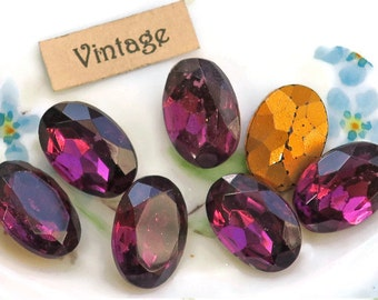 Ultra violet ovals, 16x11mm Vintage Cabochons Amethyst Czech NOS RARE Oval Faceted Purple Gold Back rhinestones (1673B)