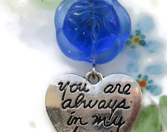 You Are Always in My Heart,heart Charm, Pendant Rose Sapphire flower Czech Valentines Day Findings Jewelry Love #1099D