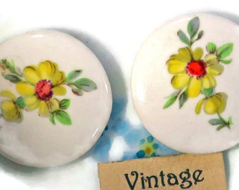 Vintage Cabochon floral Yellow Rose Flowers Limoges Style 24mm NOS Glass Yellow flower (24K)