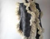 Felted scarf real fur   grey wrap fur scarf Fur stole, Grey wool shawl  Fur shawl outerwear by Galafilc