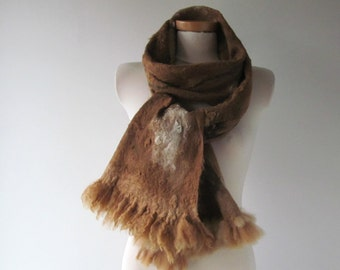 Felted scarf Felt Eco Fur scarf, Brown beige long scarf, Hand Felted scarf, Pure Real Wool scarf Fleece by galafilc Organic ruelty Free fur