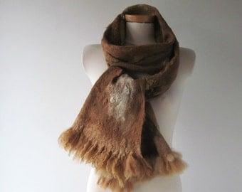 Felted scarf Felt Eco Fur scarf, Brown beige long scarf, Hand Felted scarf, Pure Real Wool scarf Fleece by galafilc Organic ruelty Free fur