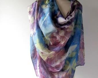 Silk scarf Blue Purple scarf blue scarf plant print scarf blue silk scarf women Leaf pattern Eco dye silk scarf handpainted