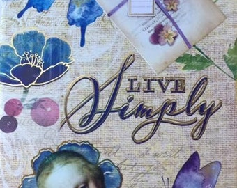 JOURNAL notebook, blank book, lined pages, LIVE SIMPLY