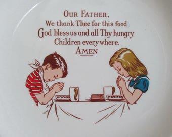 Children's Prayer Plate 1955 Wall Hanging