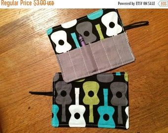 SALE March Madness SALE Crayon roll Cozy holder guitar 6 pockets