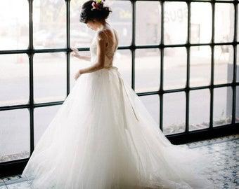 "Lined Tulle bridal skirt seperate, the ""Jordan"" skirt CUT TO ORDER"
