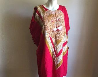 80s Red Lion Motif Tunic Rayon Dress • Free Size