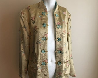 50s 60s Champagne Yellow and Turquoise Blue Reversible Vintage Silk Jacket • Chinese Silk • Free Size