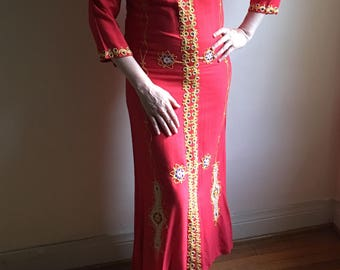 70s Rare One of a Kind Red Caftan Vintage Moroccan Dress • 1970s Kaftan Dress • Free Size Dress • 70s Red Long Dress  • 70s Bohemian Dress