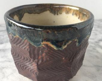Faceted Tea Bowl, Hand Made Chawan, Drinking Vessel, Wabi Sabi Ceramic Cup