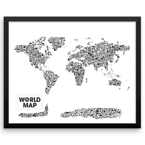 Camera World Map Art Print, vintage camera, camera art, Hipster Poster, Camera Gifts, Retro Camera, World Map Poster (made with Cameras)