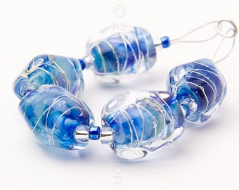 Danube Sparkle Nuggets - Handmade Lampwork Glass Beads by Sarah Downton