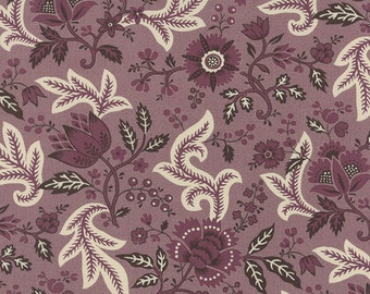VILLE FLEURIE 3 yds Moda fabric quilting sewing shabby French General Kaari Meng aubergine purple lavender 13762-15